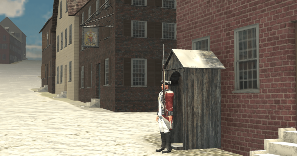 3D rendering of a revolutionary soldier standing before a guardhouse